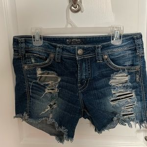 Ripped Silver Jean Shorts